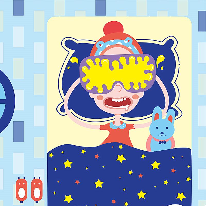 愛儷璞斯_蒸汽眼罩插畫_蒸汽眼罩包裝_臍貼插畫包裝設計