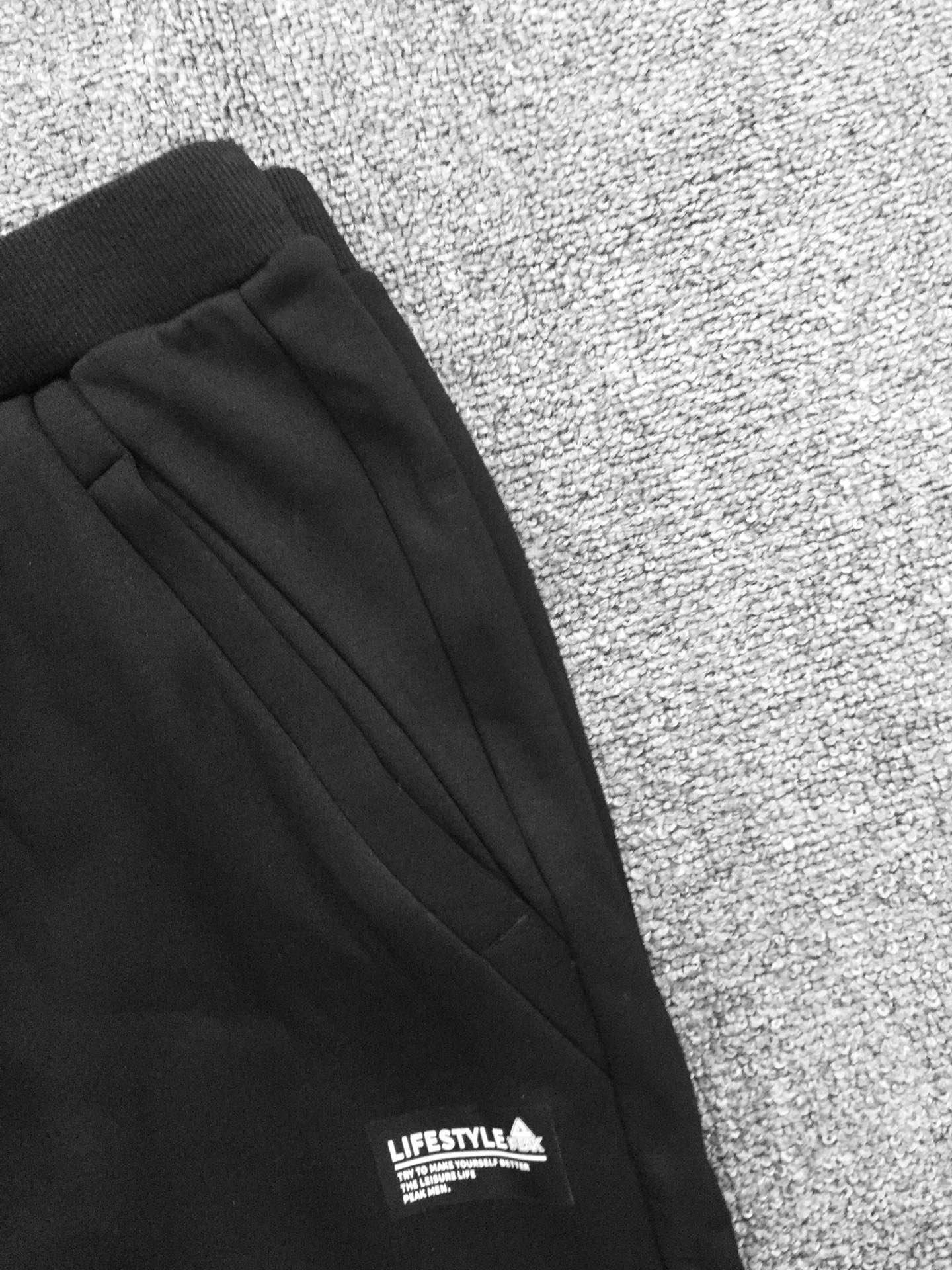 2019新匹克全男高弹力水貂绒针织长裤1包50件,单款黑色