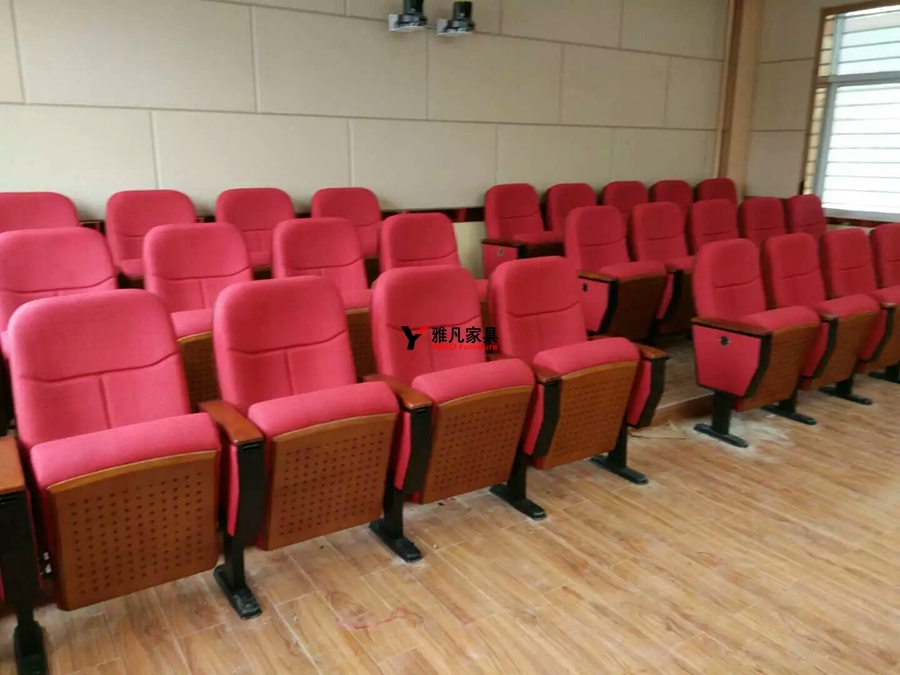 高档实木座背板报告厅礼堂椅服务于中铁十二局