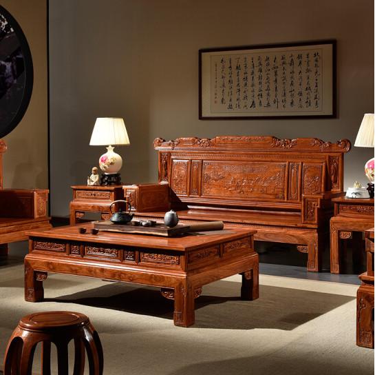 新中式兰亭序沙发 客厅组合 113六件套(不含坐垫)